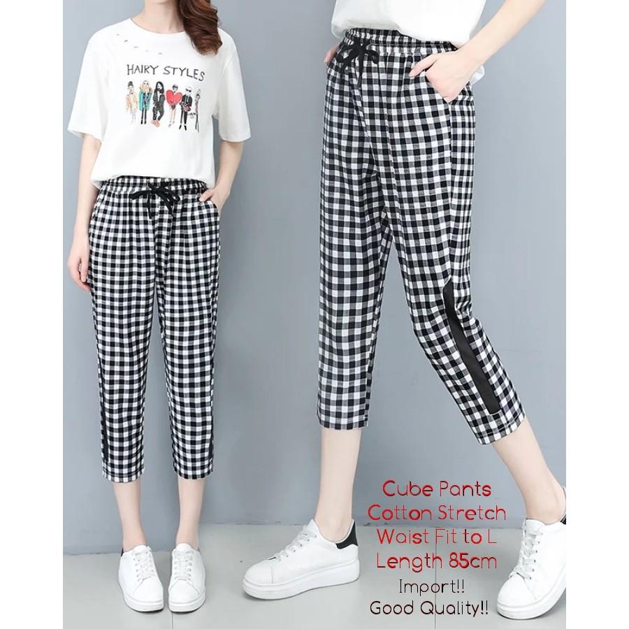 Cube Pants Celana Legging 3 4 Wanita Fashion Wanita Skinny Motif Kotak Wanita Kekinian Cew Shopee Indonesia