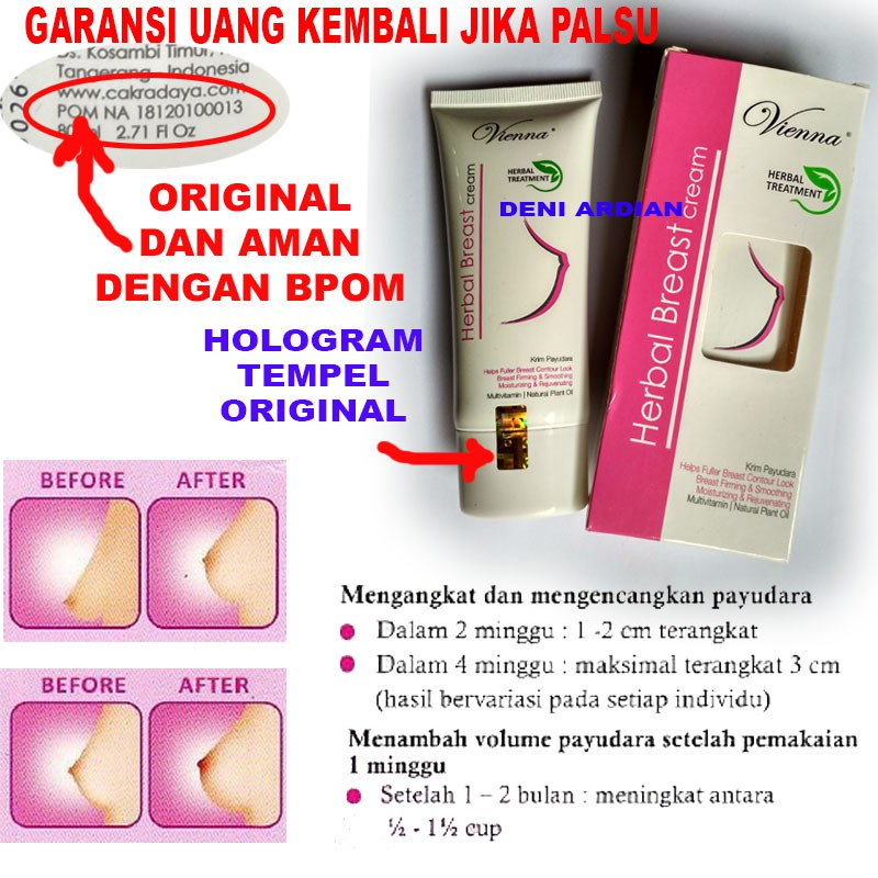 Vienna Herbal Breast Cream Pembesar Pengencang Payudara Original Bpom Shopee Indonesia