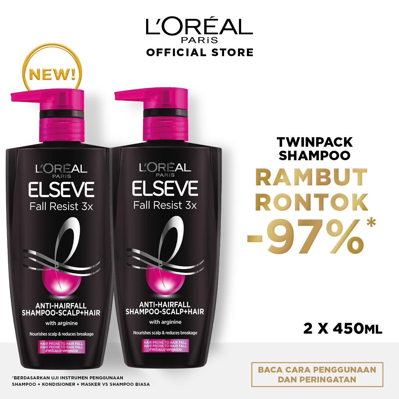 L'Oreal Paris Fall Resist 3x Shampoo Hair Care 450 ml Twinpack [Perawatan Rambut Rontok]