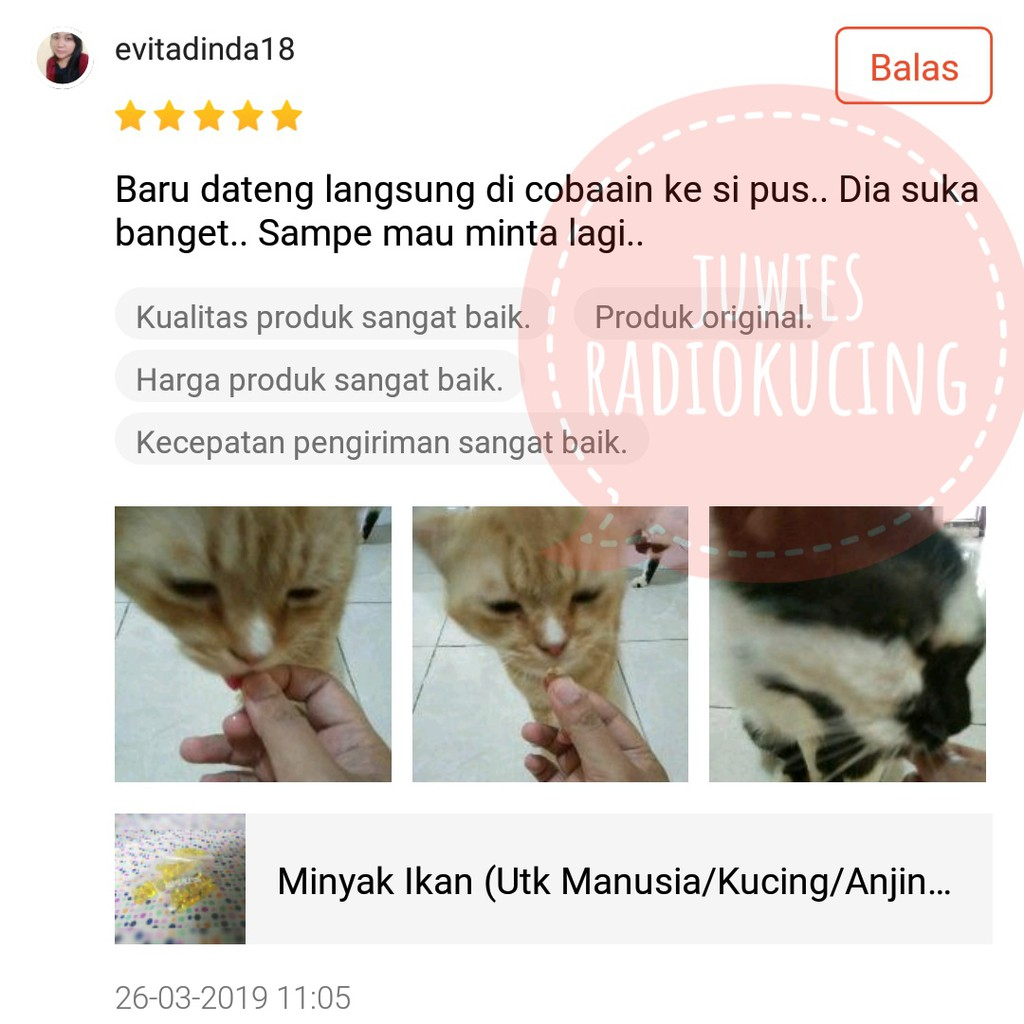 Minyak Ikan Sachet Isi 20 Butir Utk Manusia Kucing Anjing Hewan Peliharaan Shopee Indonesia