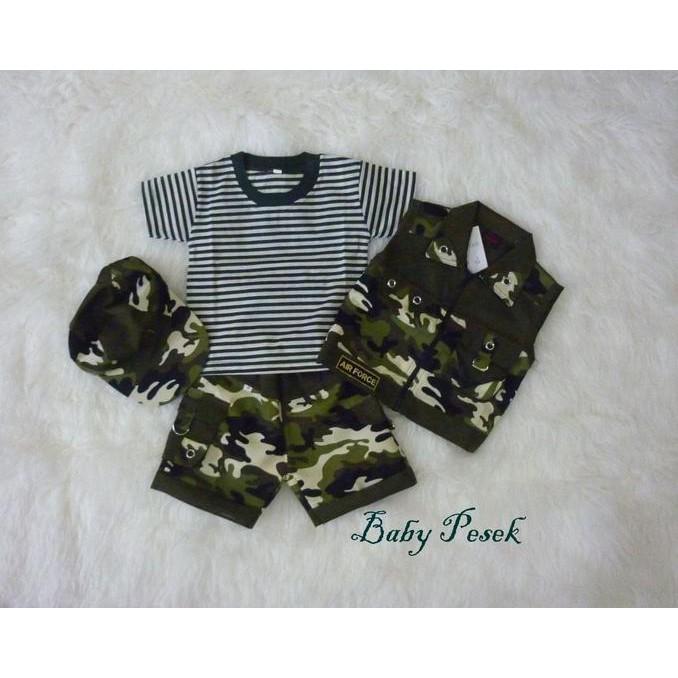 DISCOUNT MURAH Army Setelan Baju Profesi Tentara Loreng Abri Anak Bayi Laki-Laki TERJAMIN |