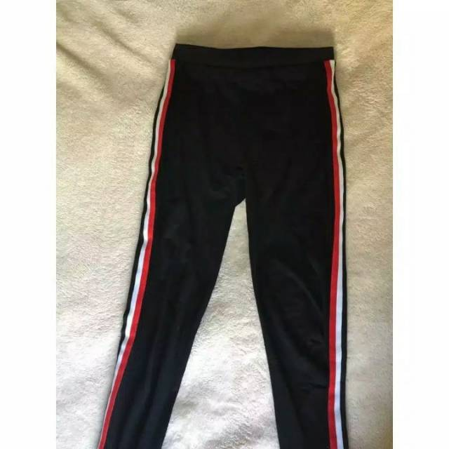 Hz Celana Legging Wanita Melar Strip Plat Merah Putih Biru Scuba Premium Baggy Pant Scuba Shopee Indonesia
