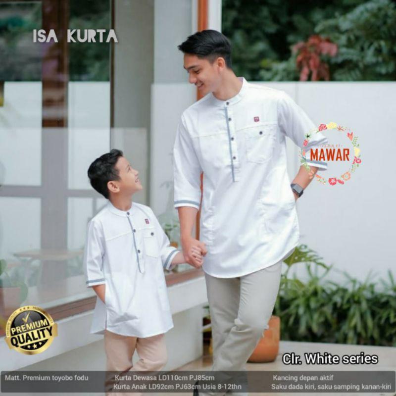 Realpict Koko Isa Kurta Madina Couple Dewasa & Anak ori Mawar Hijab