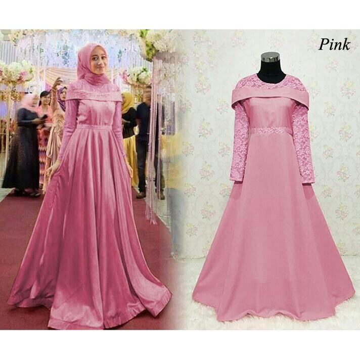 Baju Gamis Muslim Pesta Modern Mewah Party Dress Pesta Warna Pink