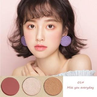Pretty Comy Makeup Blush On Palet 3 warna Blush Highlight Makeup 4