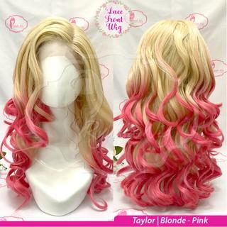 Wig Lace Front LONG STRAIGHT WAVY WAVE lurus keriting panjang Blonde Pink thumbnail
