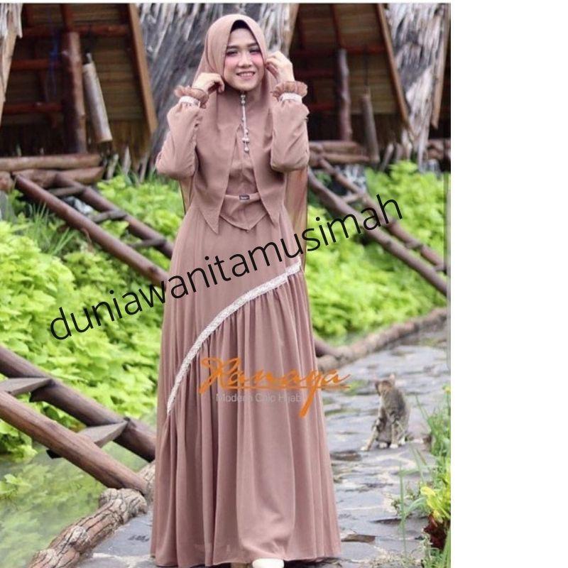 Baju Gamis Syar I Bahan Ceruti Ranaya Set Khimar Busana Muslim Gamis Pakaian Wanita Shopee Indonesia