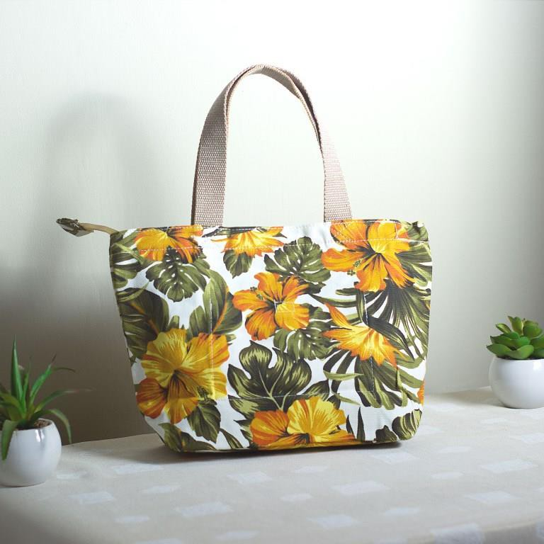 Tas Jinjing Handbag Besar Bahan Kanvas Motif Bunga Sepatu Kuning Shopee Indonesia