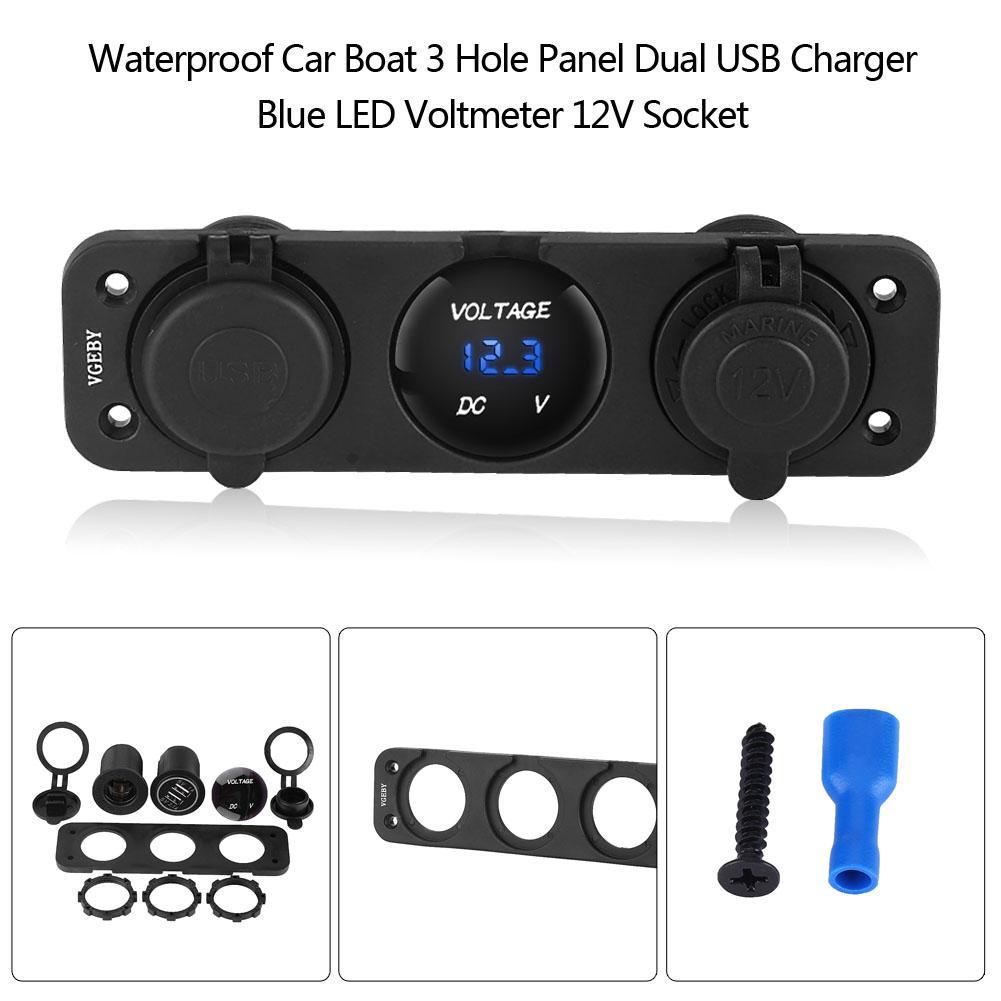 Waterproof Car Boat 3 Hole Panel Dual USB Charger Blue LED Voltmeter 12V Socket for Both 12V and 24V Vehicles Universally