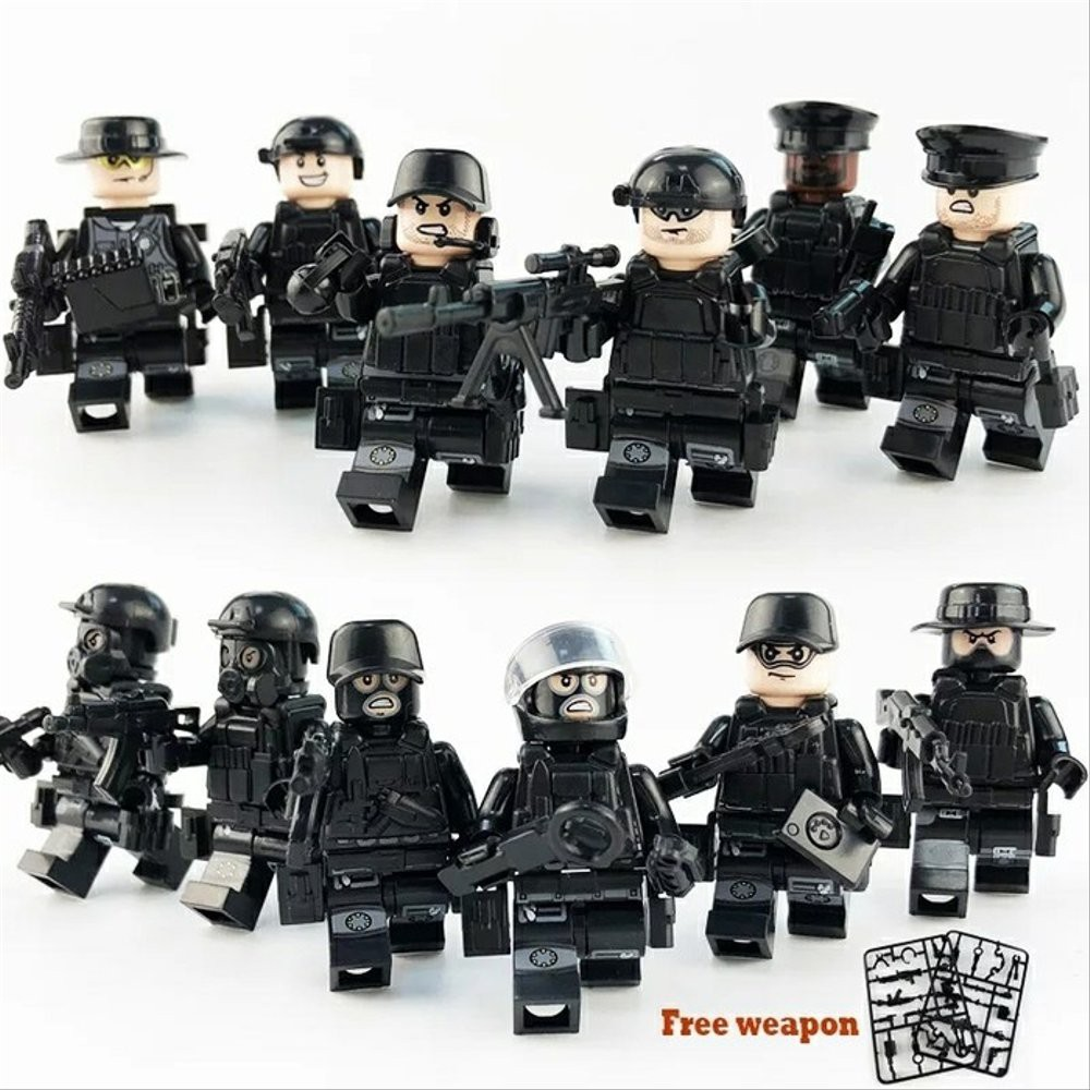 Lego Compatible Building Blocks Toys Military Cops Police Weapon Team Army 12Pcs