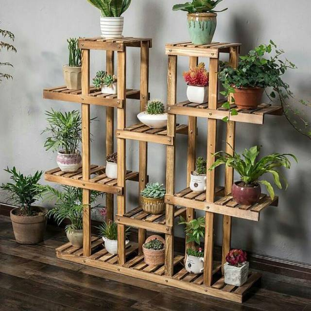Rak Bunga Unik Rak Bunga Susun 17 Wooden Rack Plant Shopee Indonesia