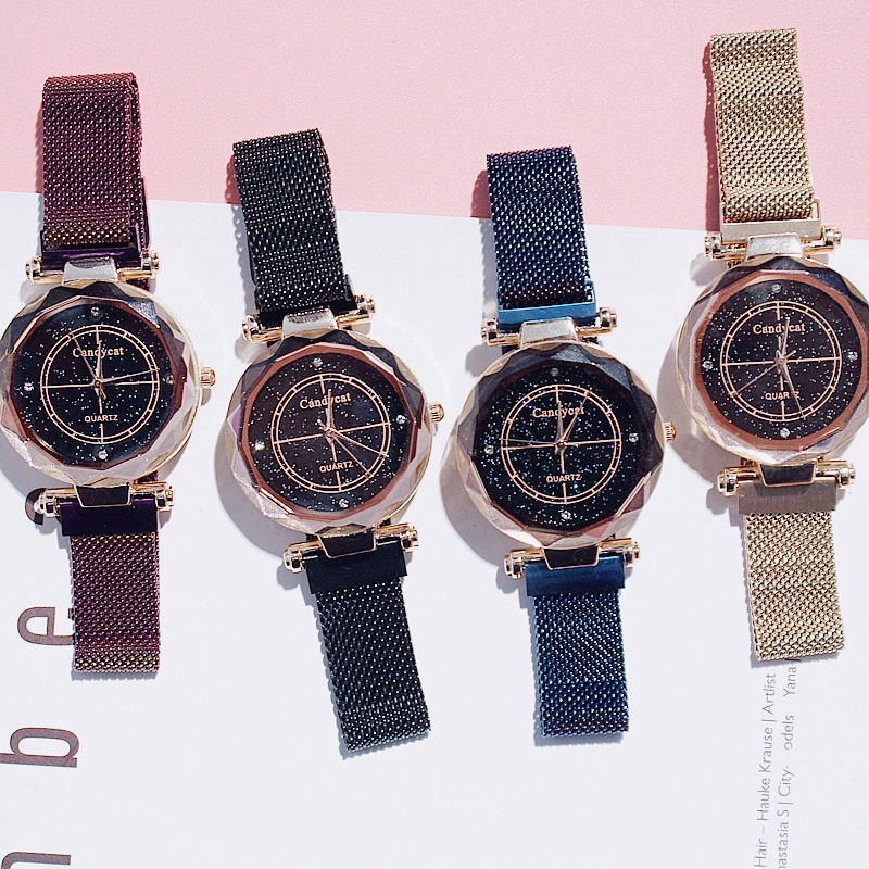 Jam Tangan Wanita Quartz Korea Style Tahan Air Wrist Watch Magnet Starry Sky Kuarsa Diamond | Shopee Indonesia