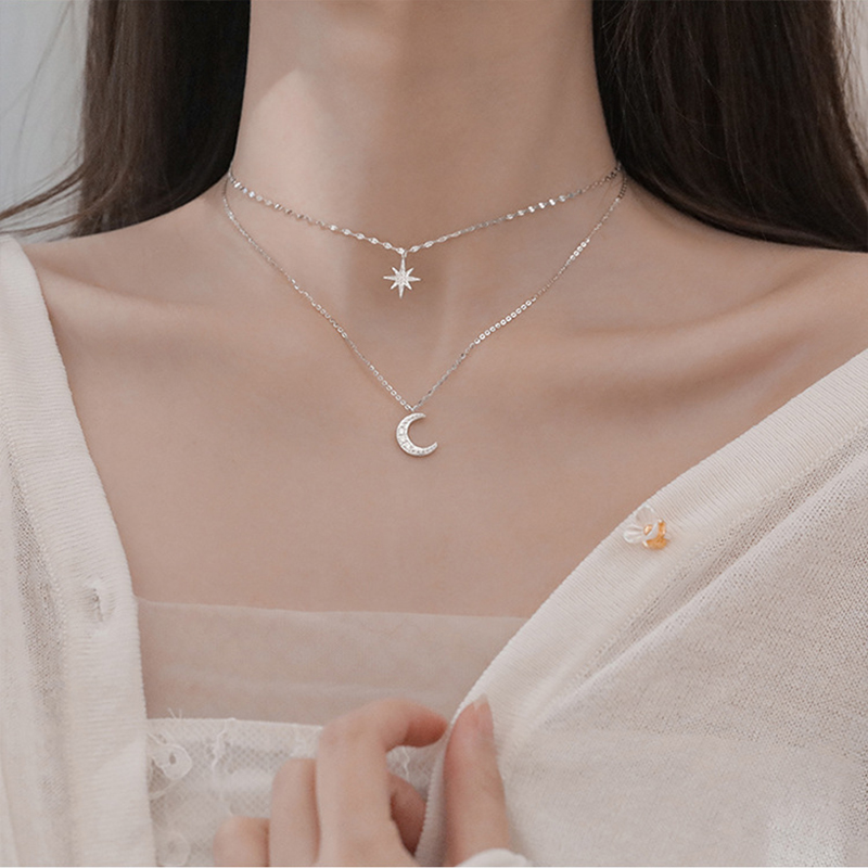 Korea Fashion Double Necklace For Women Girl Star Moon Charm Zircon Clavicle Chain Jewelry Accessories Gift Shopee Indonesia