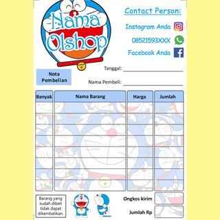 Nota Penjualan Pembelian Custom Olshop Online Shop Karakter Kartun Doraemon Besar Lucu Imut Murah