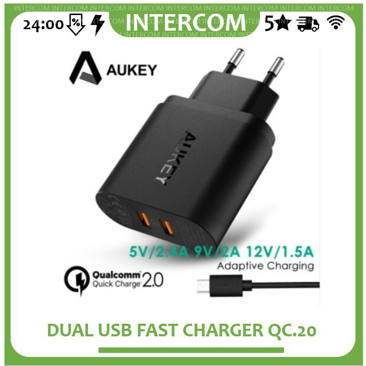Aukey Charger USB 5 Port EU Plug 54W with Qualcomm Quick Charge QC 2.0 & AiPower - PA-T1 Original | Shopee Indonesia