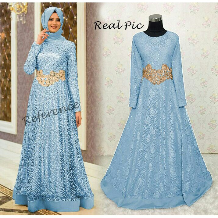 101 Model Baju Brokat Biru Muda Paling Keren