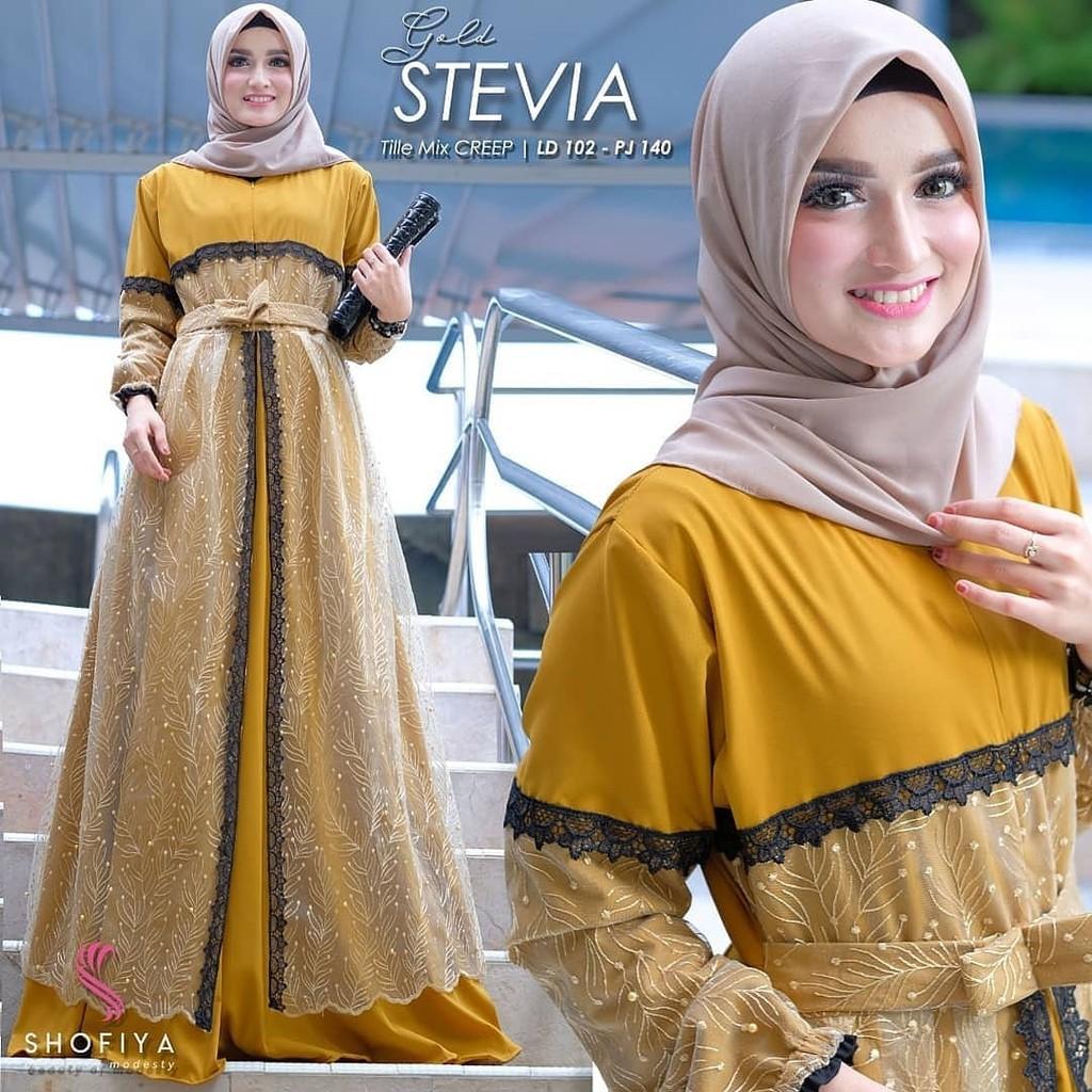 Model baju gamis lebaran 12 / Long Dress Muslim Stevia Dress / Gamis  Terbaru 12 Modern