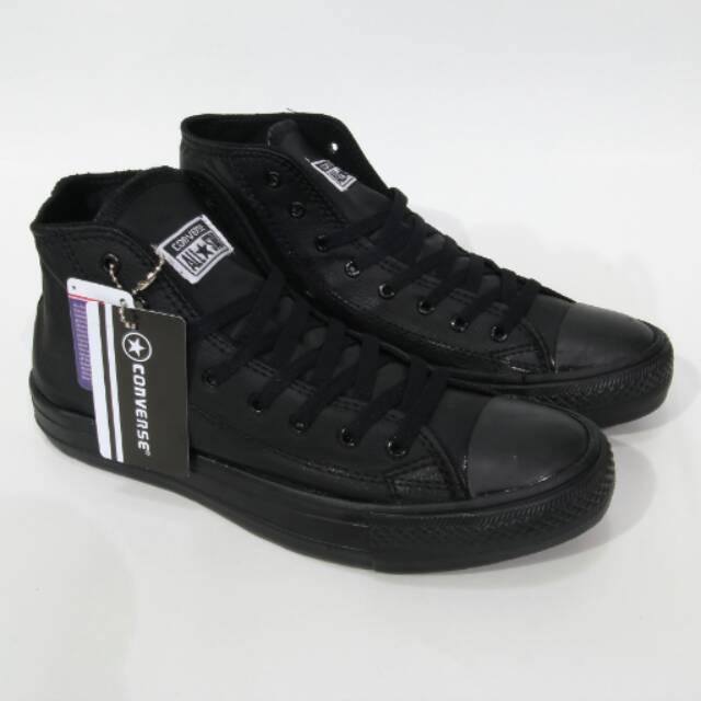 Sepatu Converse Allstar High Leather Kulit Black White Made In Vietnam  92b9d77f68