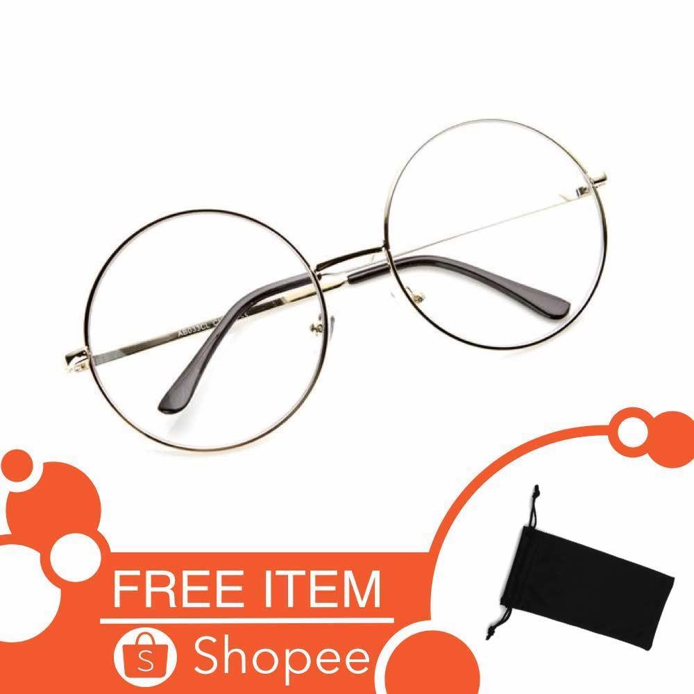 Kacamata Bulat (Design Korea) Pria dan Wanita - Model Vintage (Silver) Free  Sarung  e75bcbc79c