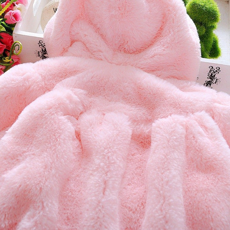 Winter Newborn Baby Girls Fur Coat Cloak Jacket Snowsuit Outerwear Clothes