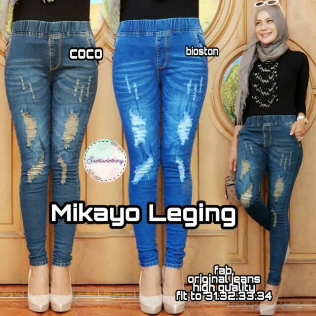 Legging Jeans Wanita Legging Cewek Legging Motif Sobek Legging Murah Shopee Indonesia