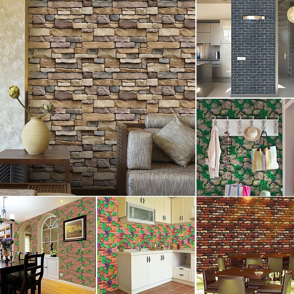 Stiker Dinding Decal Desain Batu Bata Untuk Dekorasi Kamar Mandi