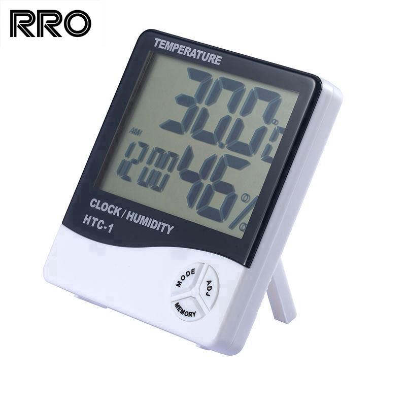 Jam Termometer Suhu Ruangan Jam Digital Hygrometer Thermometer Digital LCD Kelembapan Alarm Kalender   Shopee Indonesia