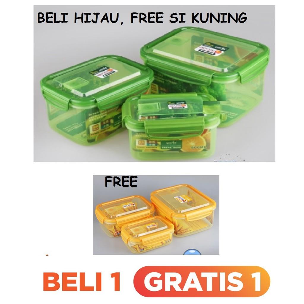Yooyee Josei Kotak Makan Mini Anti Tumpah 606 605 Shopee Indonesia Leakproof Lunchbox 4 Sekat Biru Muda