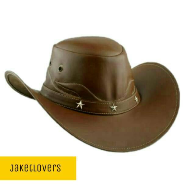Topi kulit koboy topi kulit sapi asli berkualitas pengrajin Garut   Shopee Indonesia