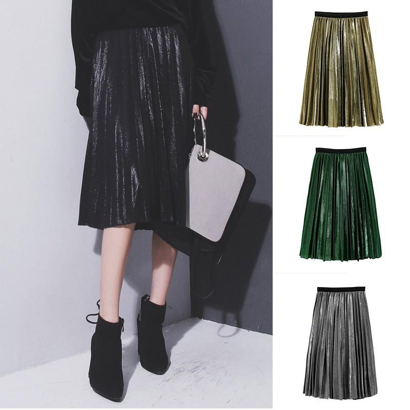 d15835fa16 Plisket midi skirt / rok bludru / velvet plisket skirt / rok plisket import  | Shopee Indonesia