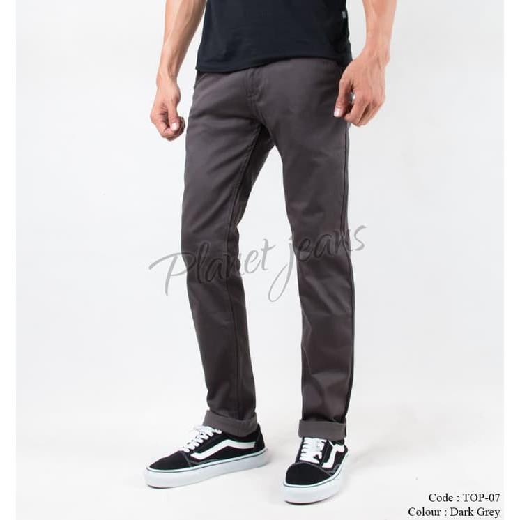 Celana Panjang Pria Chino Pants Slim fit Cowok Warna Navy, Abu Gelap | Shopee Indonesia