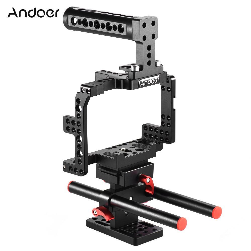 Andoer Cage Rig Top Handle Rod Rail Baseplate A7s A7r A7 Mark I Dan L Plate Bracket Shape Kamera Sony Ii Mark2 Shopee Indonesia