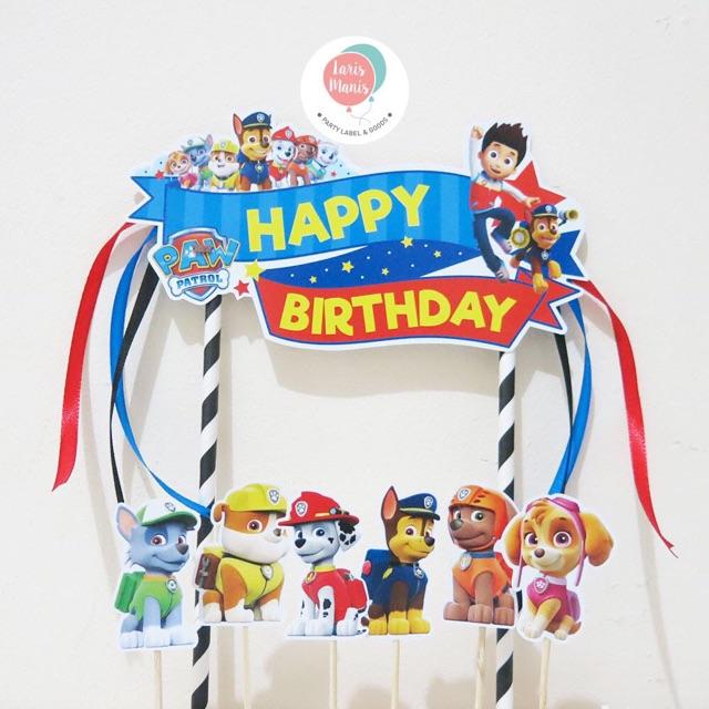 cake topper hiasan kue ulang tahun paw patrol  shopee