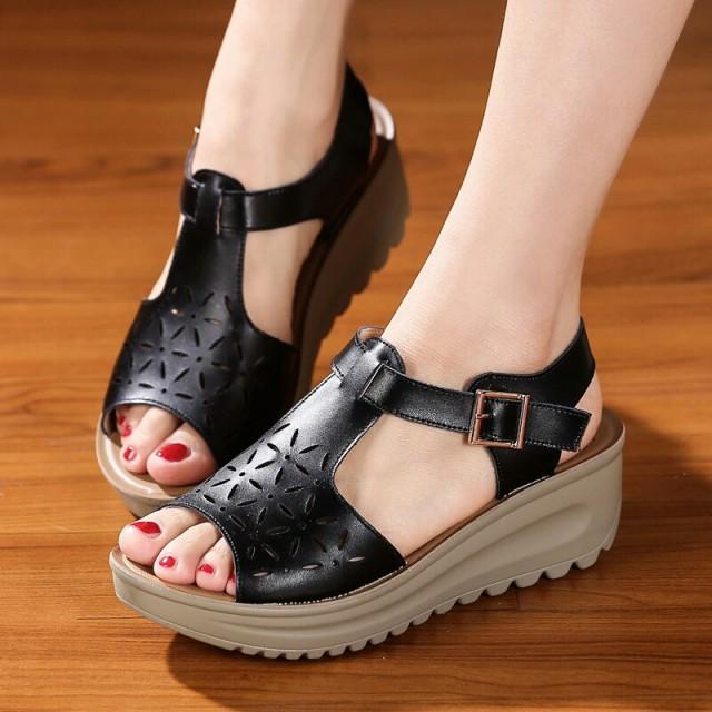 sepatu wedges wanita sandal wedges wanita wedges suede pita sendal wanita  wedges 1187 HITAM  e000112561