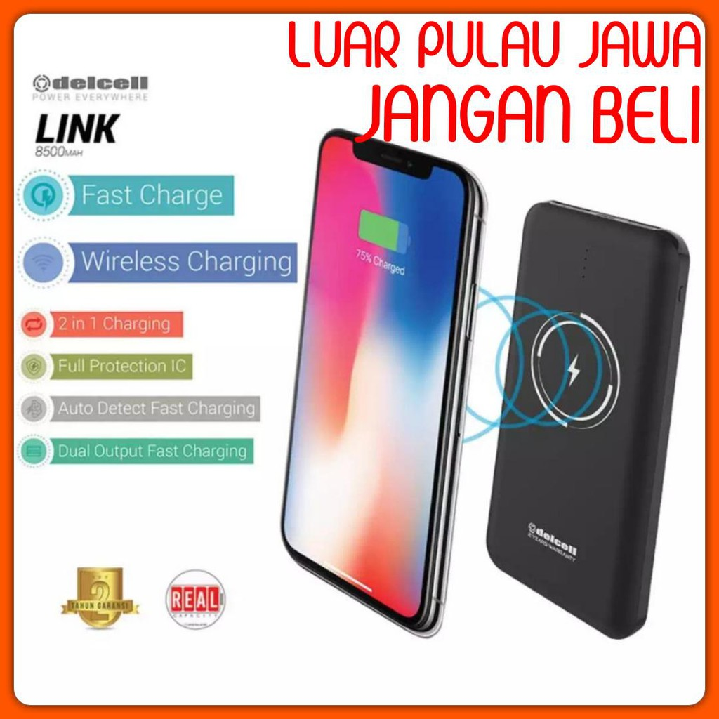 POWERBANK WIRELESS DELCELL LINK 8600 MAH ORIGINAL DELCELL LINK 8600MAH GARANSI RESMI REAL CAPACITY | Shopee Indonesia