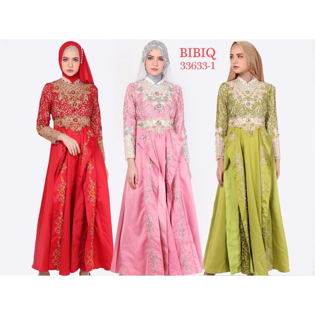 Gamis Pesta Baju Muslim Mewah BIBIQ Terbaru Bahan Brokat Satin 1111-11