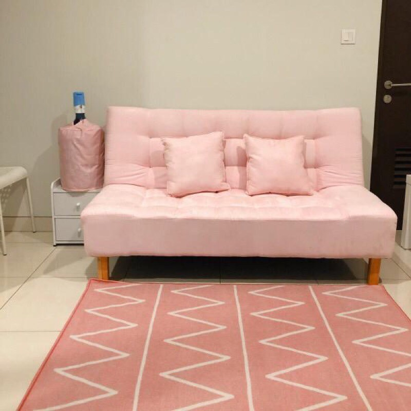 sofa bed baby pink kaki kayu | Shopee Indonesia