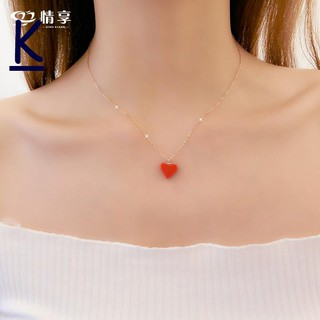 Ms. Love Red Heart Rose Gold Kalung Rantai Klavikula Perempuan Jantung Cinta Liontin Gadis Kalung Ha