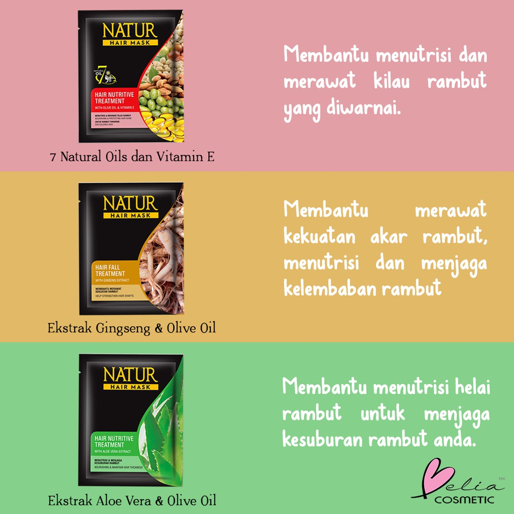 ❤ BELIA ❤ NATUR Hair Mask   Hair Vitamin   2 in 1 Shampoo & Hair Tonic(✔️BPOM)-4