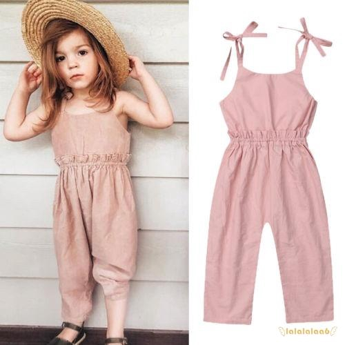 UK Newborn Kids Baby Girls Strap Romper Jumpsuit Bodysuit Pants Outfit Overalls