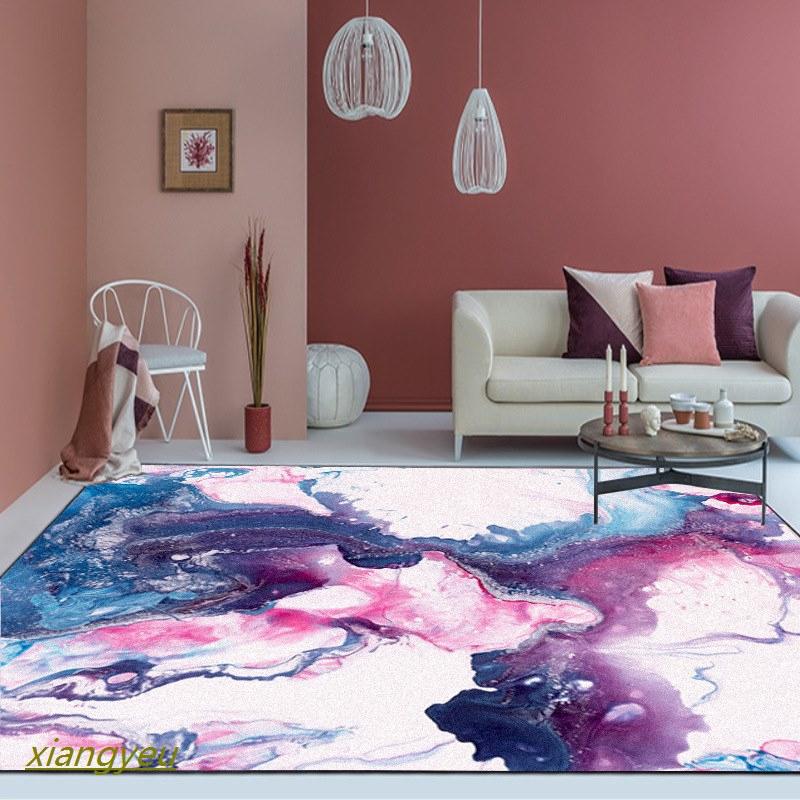 U0026 Karpet Desain Nordic Abstrak Warna Ungu Biru Untuk Ruang Tamu Kamar Tidur Shopee Indonesia