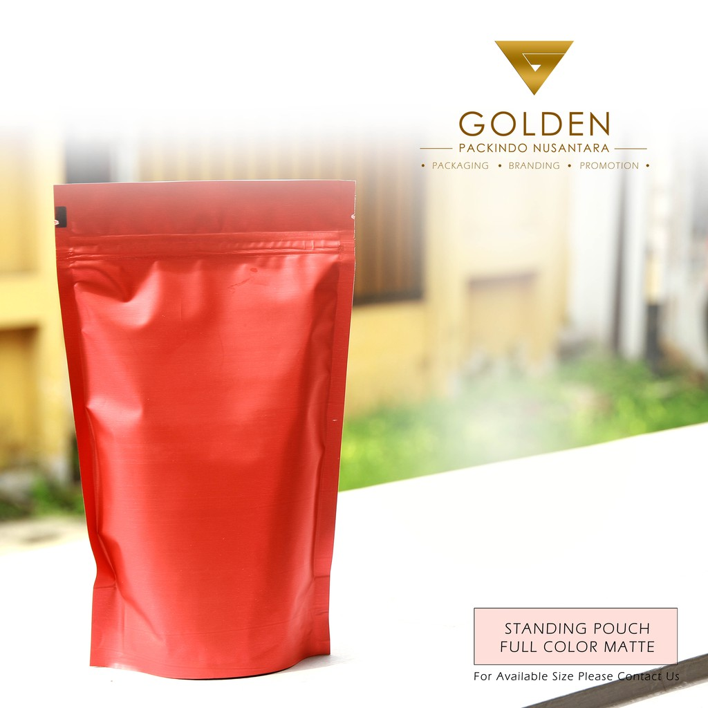 Kemasan Standing Pouch 13 X 20 Red Matte Stading Pouce