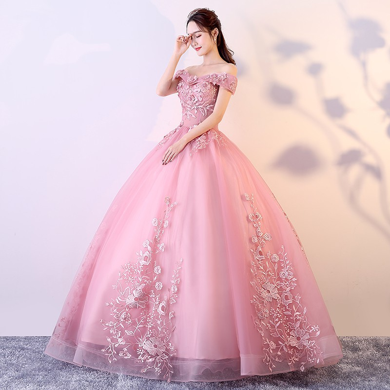 Promo Termurah Romantic Off Shoulder Handmade Lace Embroidery Women Wedding Party Ball Gown Dress Shopee Indonesia