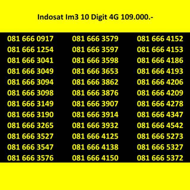 NOMOR CANTIK 10 DIGIT INDOSAT OOREDOO 4G LTE BUKAN SIMPATI TELKOMSEL XL TRI AXIS | Shopee Indonesia
