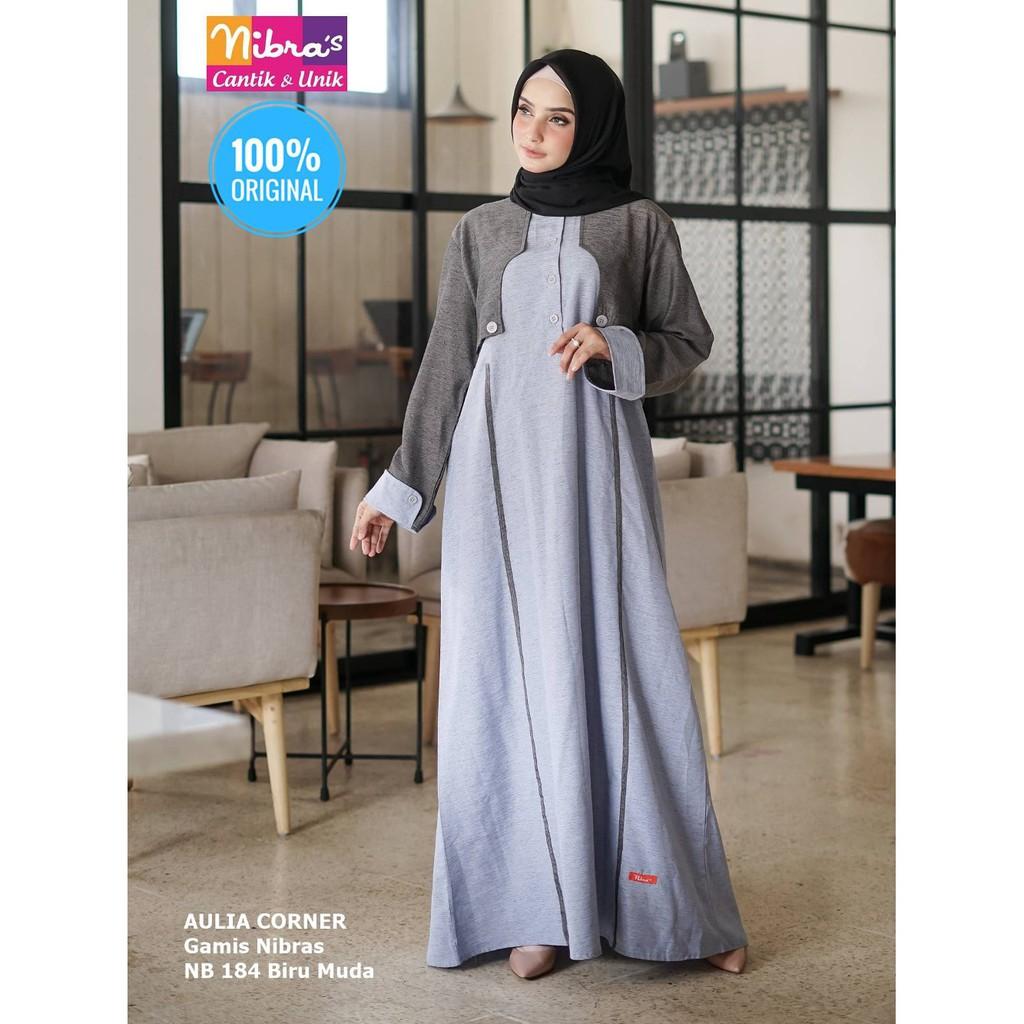 Desain Elegan Gamis Terbaru Nibras Nb 11 Biru Muda ORIGINAL Model Gamis  Wanita Sederhana