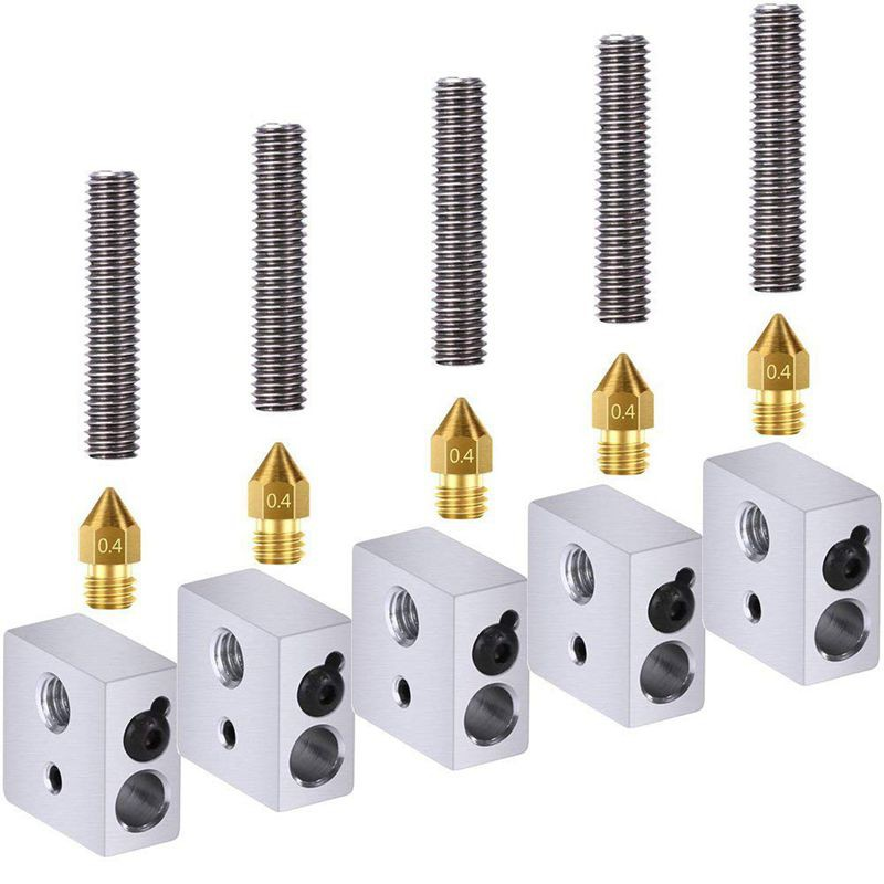 5 Extruder Nozzles Heads With Tubes For Anet A8 MK8 Makerbot Reprap 3D Printer