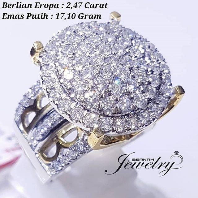 Cincin Sangat Besar Berlian Kualitas Vs Eropa Natural Diamond Ring Emas Putih 40 Fashion Wanita