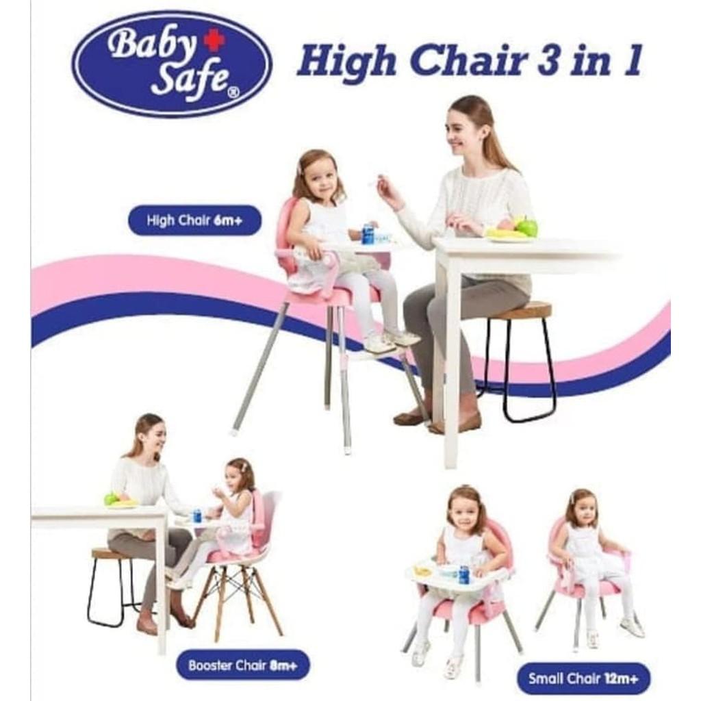 BABYSAFE High Chair 3in1 Booster Seat Kursi Makan Bayi Baby Safe HC05