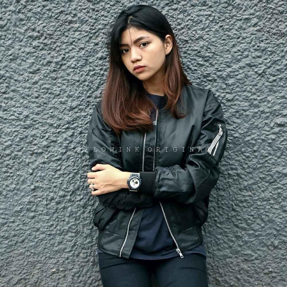Premium Jaket Bomber Wanita Cewek Warna Hitam Polos Parasut Funky Jokowi Pilot Waterproof Cewe Jacket Bl Eagle W