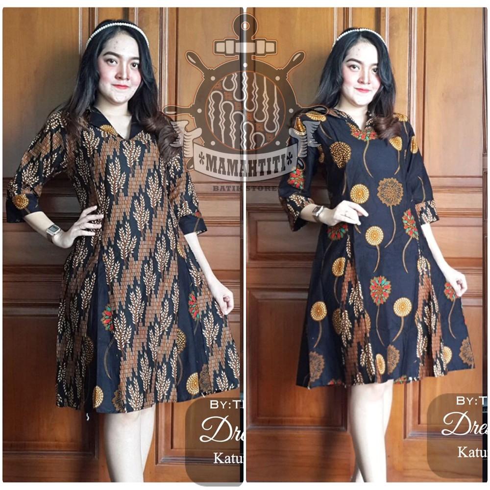 Dress Batik Wanita Murah Baju Batik Wanita Modern Dress Seling V Neck Motif Bunga Shopee Indonesia
